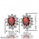 Hot Lady Girl Sweet Flower Red Zircon  Platinum Plated Ear Studs Earrings FE