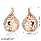 Sweet Flower Water Drop Pattern Rose Gold-plated Earrings Studs for Gift FE