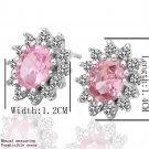 Women Girls Crystal Flower Platinum Plated Ear Studs Earrings Antiallergic FE