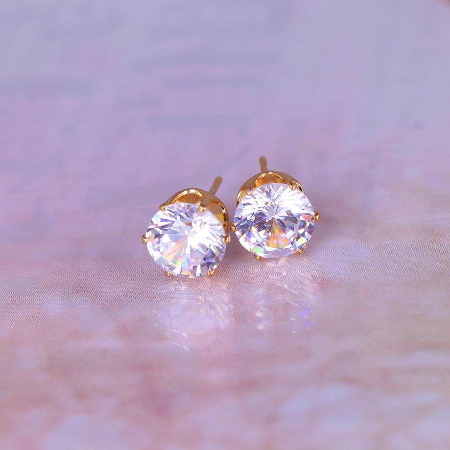 New 18k Rose Gold Plated Stud Earrings Classic Style AAA Zircon Stud Earrings FE