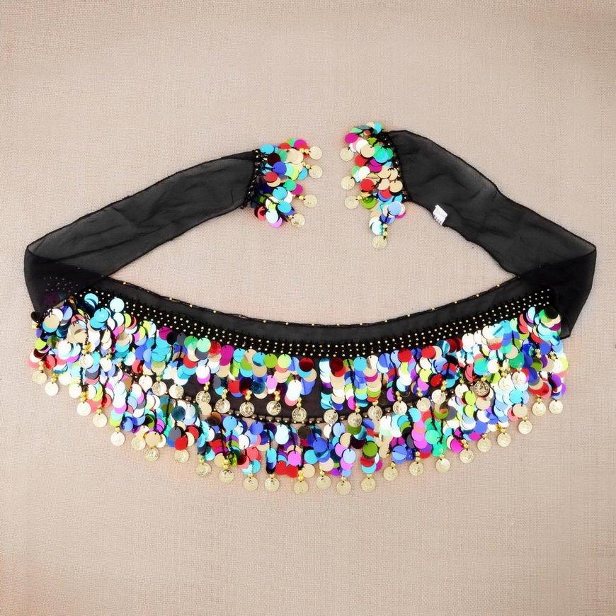 Dancing Coin Chain Sequin Belly Dance Hip Skirt Scarf Wrap Belt Waistband FE