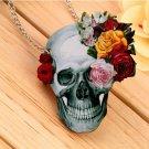 Flower Rose Skull Skeleton Wood Acrylic Pendant  Chain Necklace Jewelry Gift FE