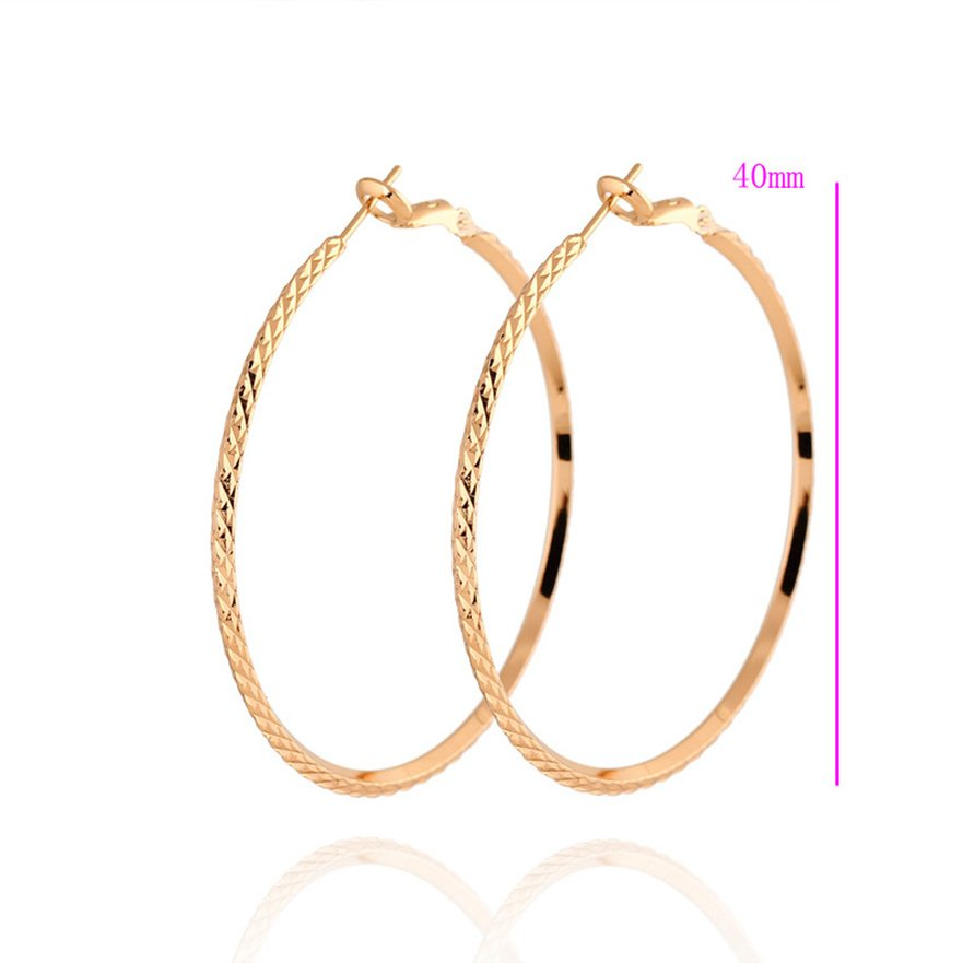 1 Pair Women Stylish Round Earrings Simple Big Carved Hoop Circle Earring FE