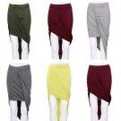 Lady Girl Wrap Draped Cut Out Hi Low Asymmetrical High Waist Open Maxi Skirt FE
