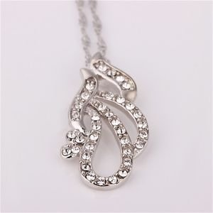 Cool Waterdrop Shape Platinum Plating Nickle Free Antiallergic Necklace Women FE