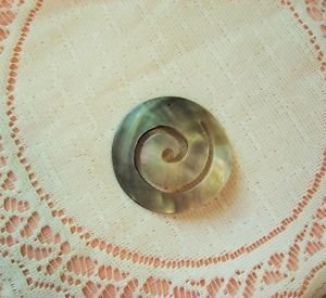Black and Gold Lip Mother of Pearl Shell Spiral Carved Focal Bead, Pendant 50mm