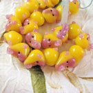 Yellow and Pink Handmade Lampwork Glass Monkey Face Beads, 6 18mm Beads