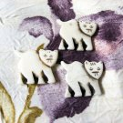Bone Kitty Bead, Focal Pendant, 30mm, 1 Handmade Cat Bead