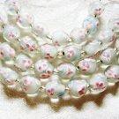 Clear Glass Cream Core, Pink Inner Flower Lampwork Glass Beads, 12mm 7 beads