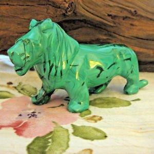 "African Malachite Lion, 4-1/2"" Carved Semi Precious Stone"