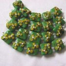 Square Green lampwork glass beads with Yellow Flower, 15mm 5 beads