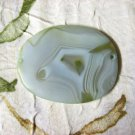 Oval Agate Focal Bead, Pendant Connector, 63mm, Natural Green