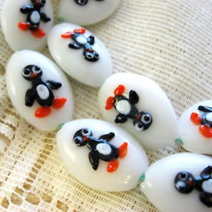 Puffed Oval Lampwork Glass Bead, Handmade Penguin 30mm, 2 Beads.