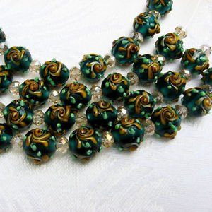 Green Lampwork Glass Beads with Flower, 8 12mm Round Beads