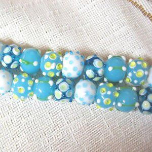 Lampwork Glass Rondelle Bead Mix. Aqua and White 13mm, 8 Handmade beads