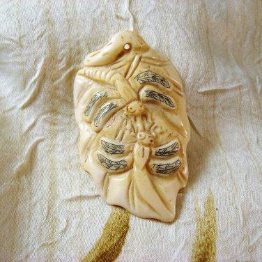 Bone Dragonfly Leaf Focal Bead, Hand Crafted, 62mm