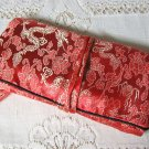 Large Bright Red Dragon Print Satin Brocade Jewelry Roll