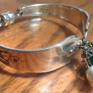 "Vintage Silver Plated Flatware/Silverware/Spoon Bracelet With ""Michigan State"" Charm and Bangles"