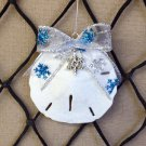 Sand Dollar Ornament w/Silver and Blue Glittered Snowflake Bow and Charm