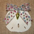 Sand Dollar Ornament w/Polka Dot Glitter Bow and Yellow Light Bulb