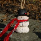 Sea Urchin Seashell Snowman Ornament ~ Red Scarf