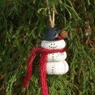 Sea Urchin Seashell Snowman Ornament ~ Merlot Scarf