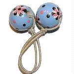 Handpainted Blue & Brown Retro Flowers Pony Tail Holder
