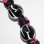 Handpainted Zebra Hot Pink Polka Dots Keychain