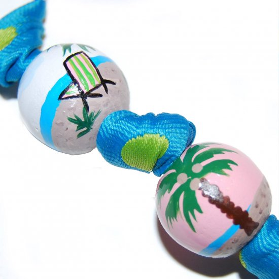 Tropical Island Beach & Palm Tree Keychain