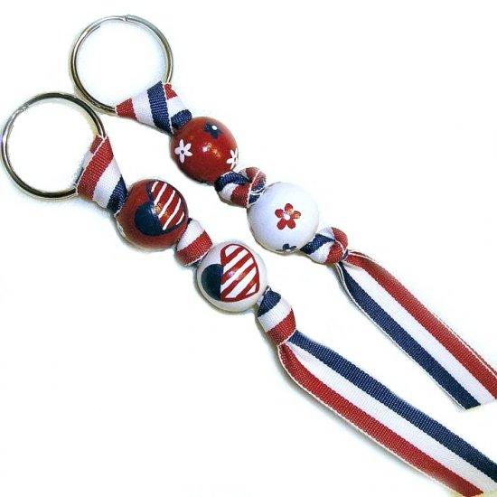 Handpainted American Patriotic Pride Keychain