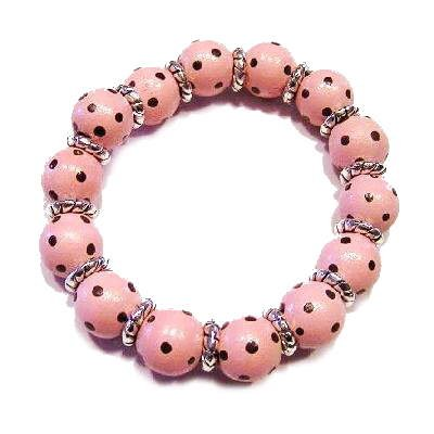 Handpainted Chocolate & Pink Polka Dot Adult Stretch Bracelet