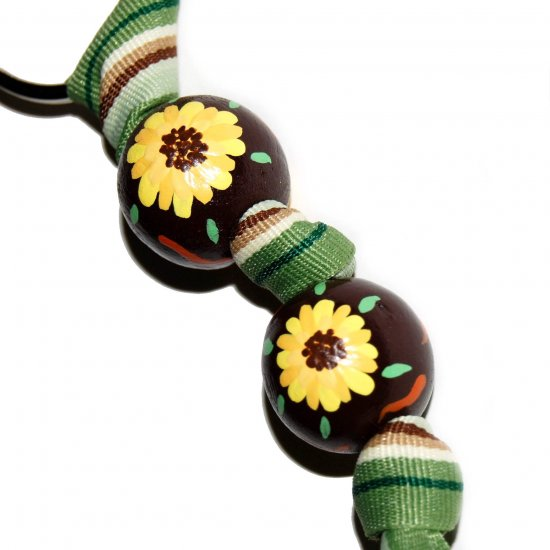 Handpainted Sunflower Brown & Yellow Flower Keychain