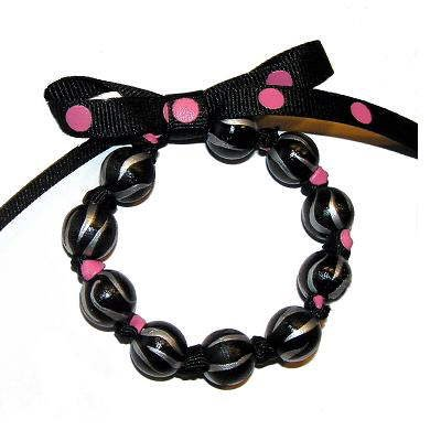 Handpainted Black Polka Dot Zebra Bow Bracelet