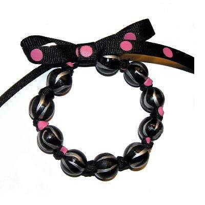 Handpainted Black Polka Dot Zebra Bow Bracelet