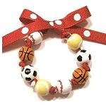 Handpainted Sports Fanatic Tennis Soccer Baseball Bow Bracelet
