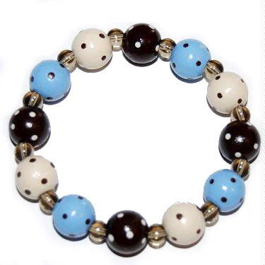 Handpainted Blue Cream & Brown Adult Stretch Bracelet