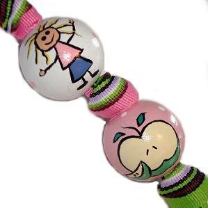 Handpainted Trendy Pink & Green Teacher Gift Keychain