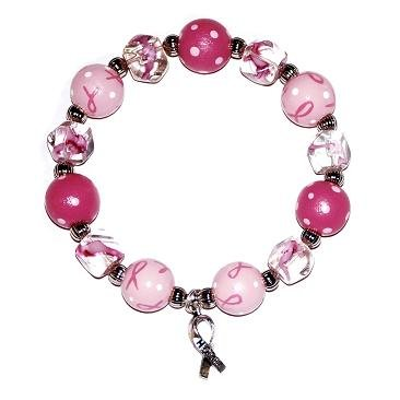 Handpainted Pink Ribbon Breast Cancer Awareness Adult Stretch Bracelet