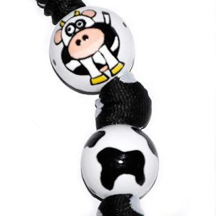 Handpainted Animal Cow Print Keychain