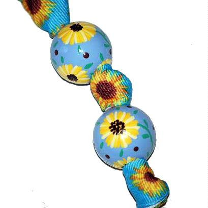 Handpainted Sunflowers Blue& Yellow Flower Keychain