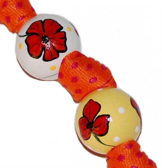 Dorothy Inspired Red Poppy Handpainted Keychain