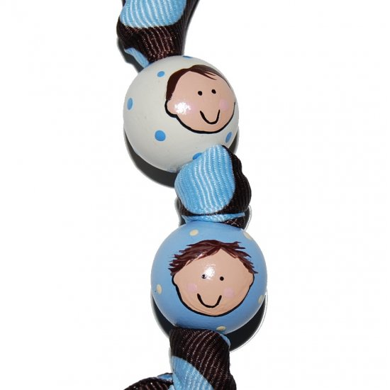 Personalized Mom's Children Faces 2 Bead Handpainted Grosgrain Ribbon Keychain-Special Order