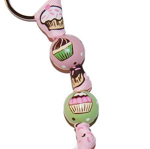 Birthday Cupcake Celebration Handpainted Keychain