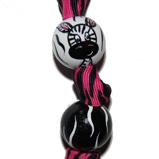 Handpainted Adorable Zebra Print Keychain