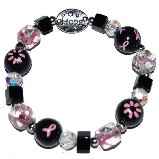 Handpainted Fashionable Breast Cancer Awareness Stretch Bracelet