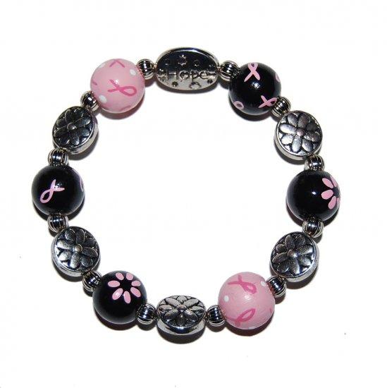 Handpainted Pink & Black Ribbon Breast Cancer Awareness Stretch Bracelet