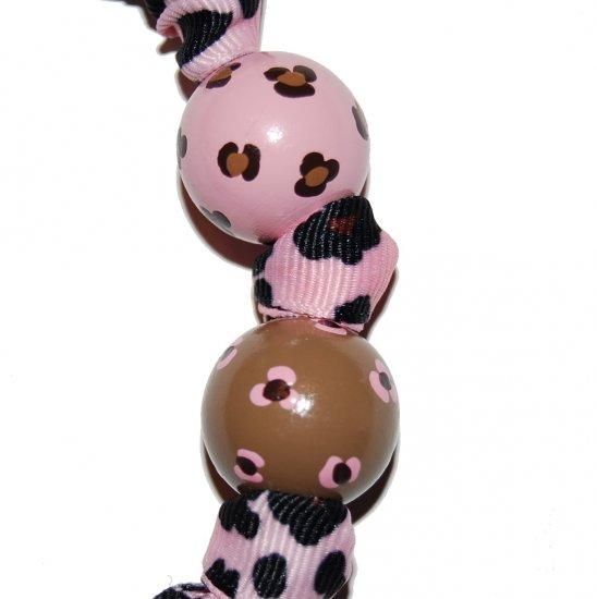 Pink Leopard Animal Print Handpainted Keychain