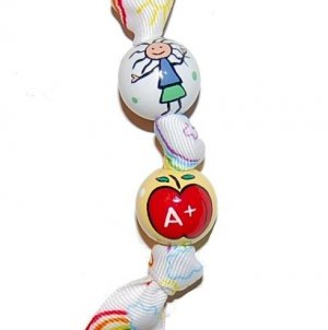 Hand Painted Rainbows and Clouds Teacher Gift Keychain