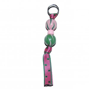 Handpainted Pink & Green Zebra Zipper Pull