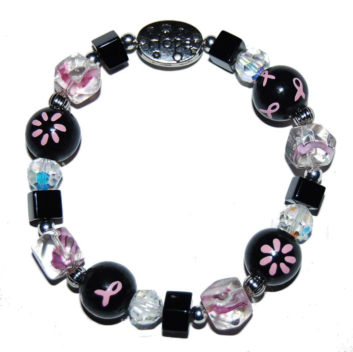 Hand-painted Pink & Black Ribbon Breast Cancer Awareness Stretch Bracelet
